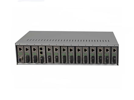 "19"" 2U 14-Slot dual PSU Fiber Media Converter Rack (OM1914)"